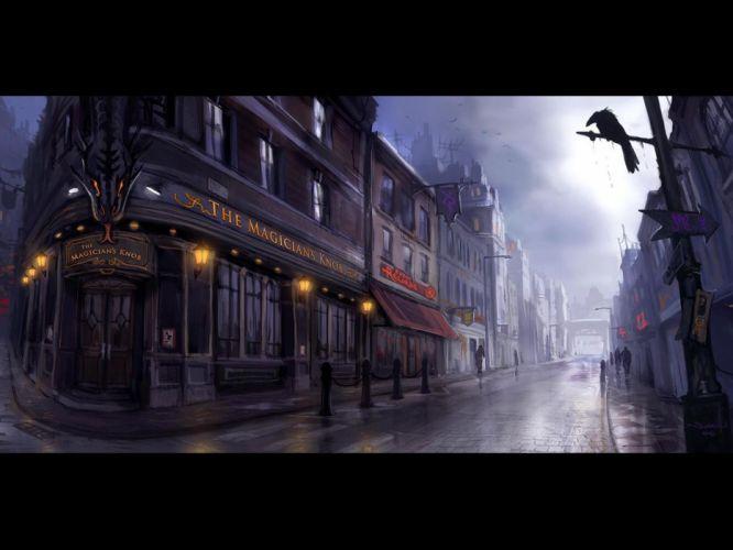 road dark crow fantasy wallpaper