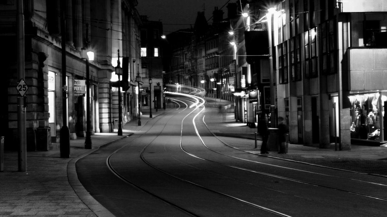 Road Night Dark Train Tracks City Wallpaper
