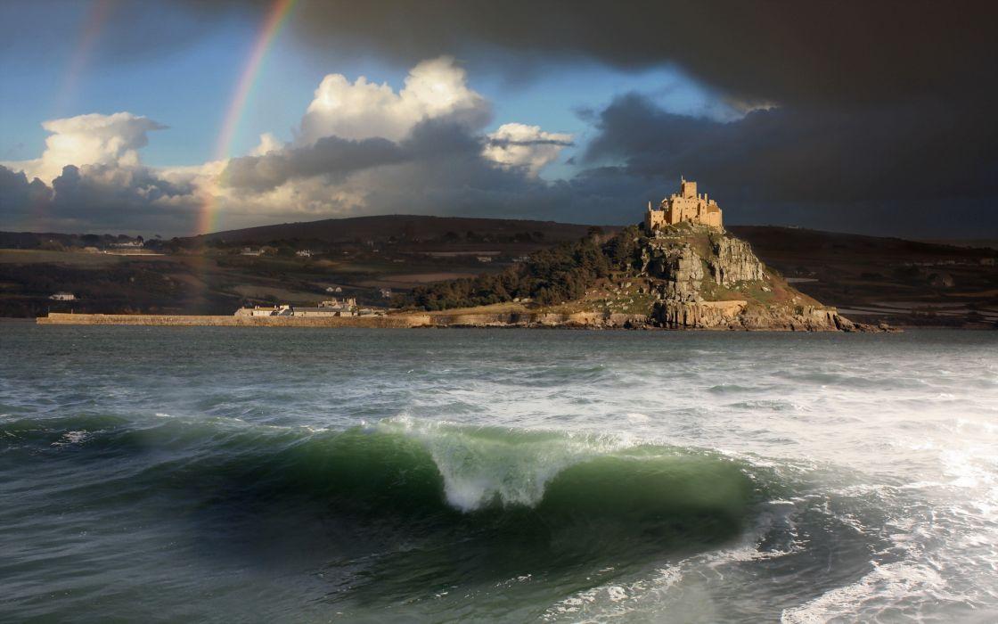 sea aeYaeY shore  sky  landscape castle ocean waves wallpaper