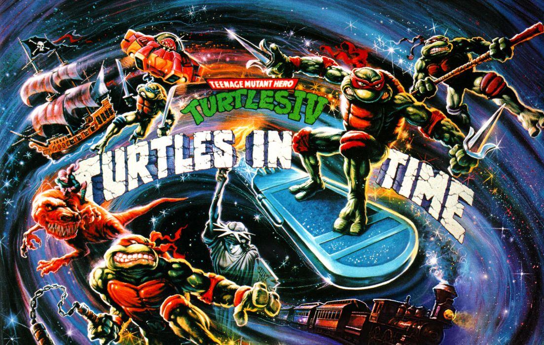 Teenage Mutant Ninja Turtles IV Turtles in Time superhero game wallpaper