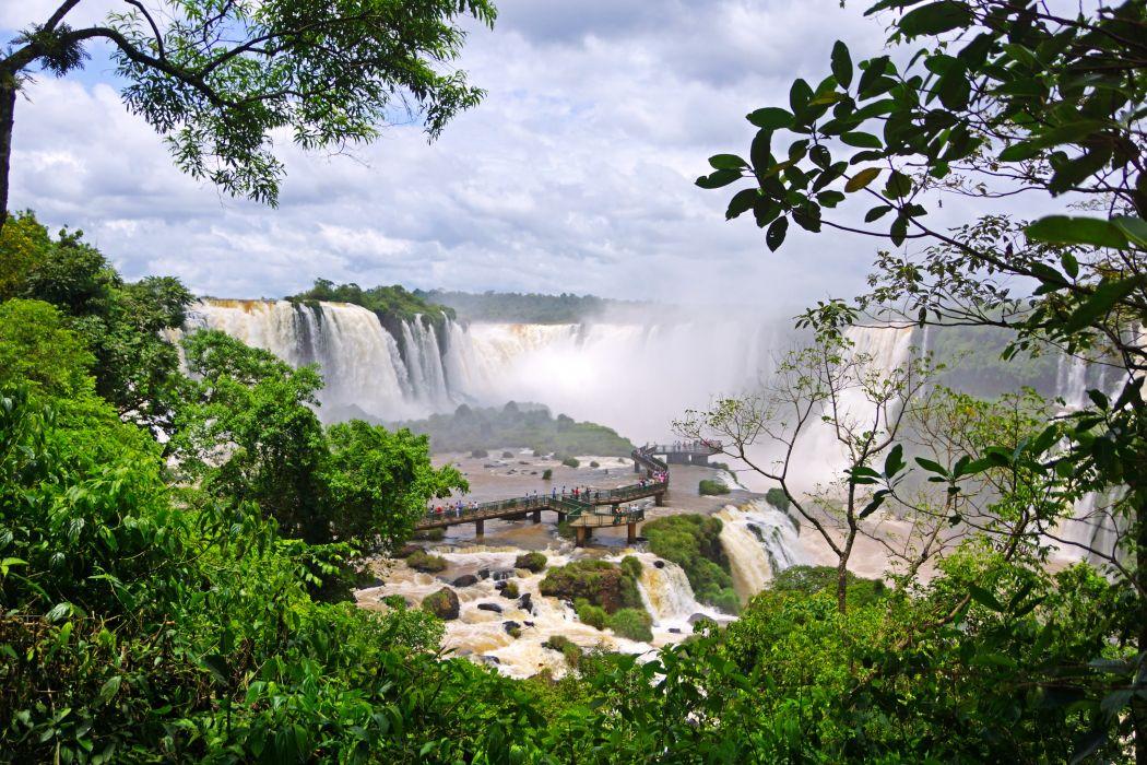 Waterfalls Brazil Iguazu Nature wallpaper