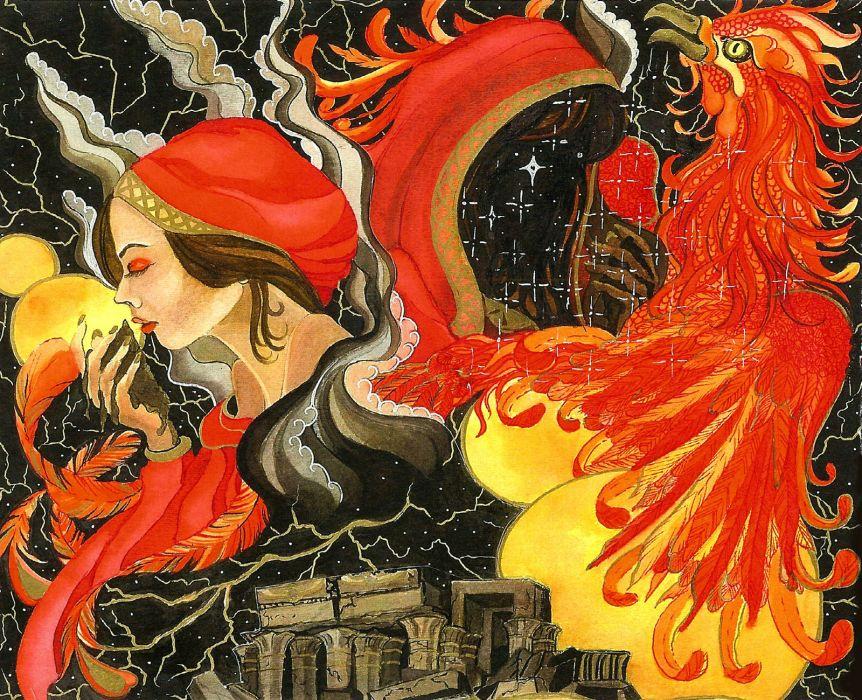 GAMMA RAY power metal heavy album art cover fantasy Summoner Phoenix wallpaper