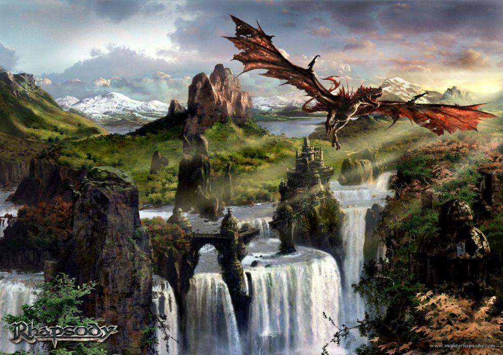 RHAPSODY OF FIRE symphonic power metal heavy thundercross fantasy album cover art dragon dragons wallpaper
