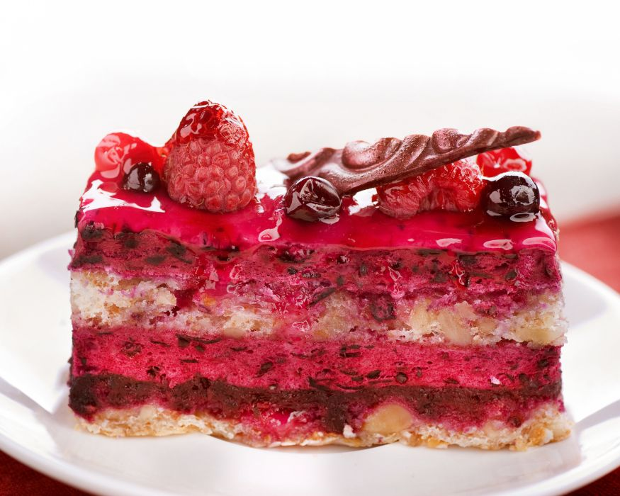 cake nuts raspberry glaze wallpaper