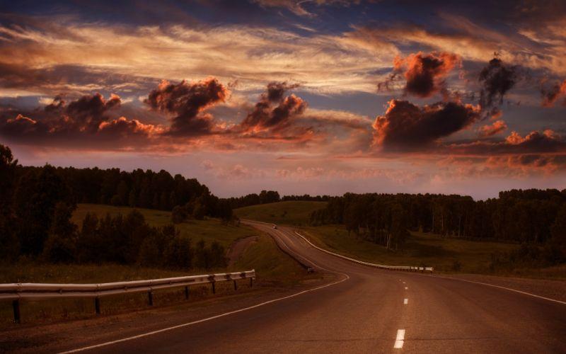 clouds road forest summer sky evening wallpaper