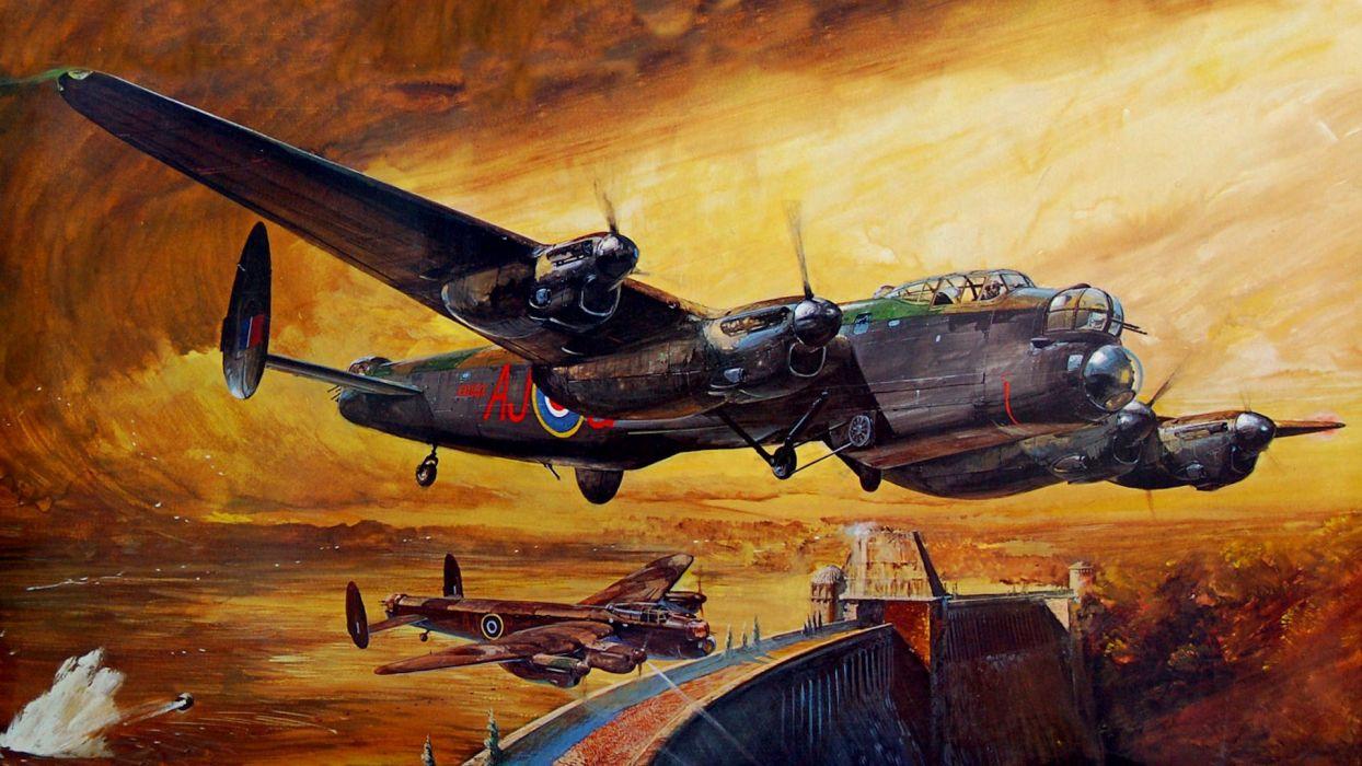Lancaster Dam Busters bombordirovschiki military wallpaper