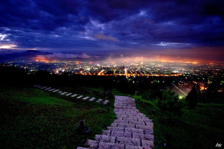 Goro night lights path step clouds wallpaper