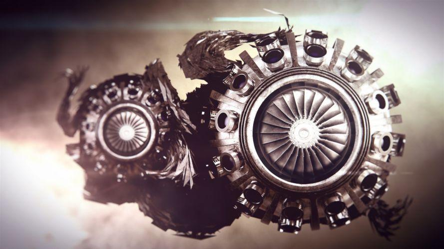 Abstract Turbine steampunk sci-fi engine engines wallpaper