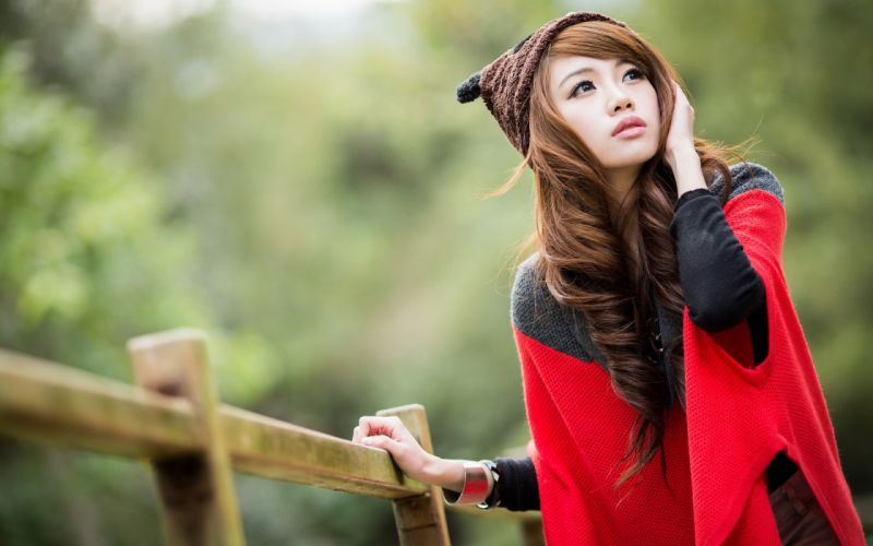 asian girl pose mood wallpaper