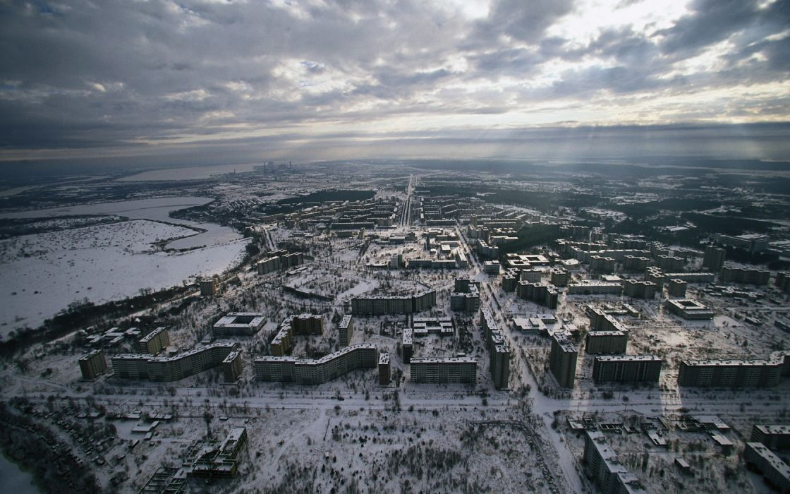 Chernobyl Pripyat Aerial Clouds Snow Winter Buildings Abandon Deserted apocalyptic dark horror nuclear radiation wallpaper