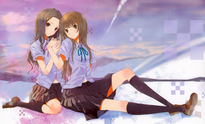 claris girls brown hair claris fuyuno haruaki seifuku skirt tagme (character) wallpaper