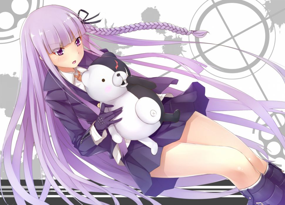 dangan-ronpa kawasaki kana kirigiri kyouko monokuma purple eyes purple hair wallpaper