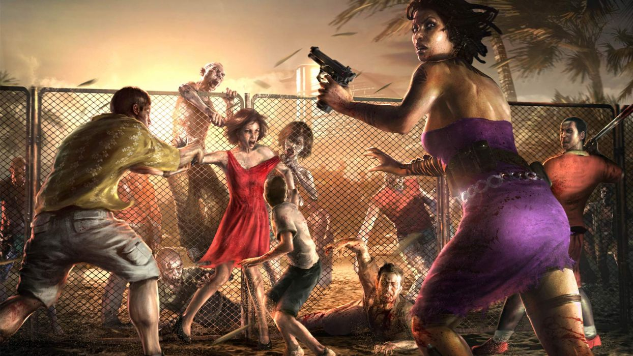Dead Island Zombies Attack Fence Drawing Blood Dark