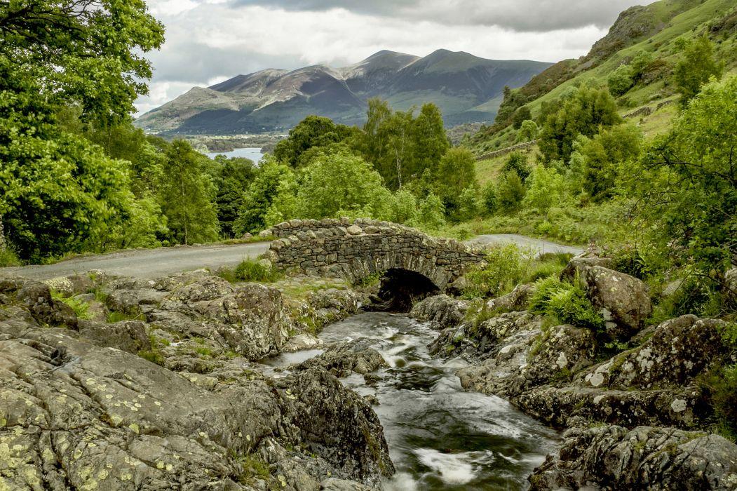 England bridge river mountain road rocks trees    g wallpaper
