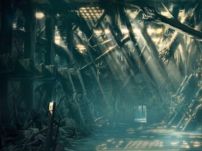 fantasy art Abstract apocalyptic ruins dark wallpaper