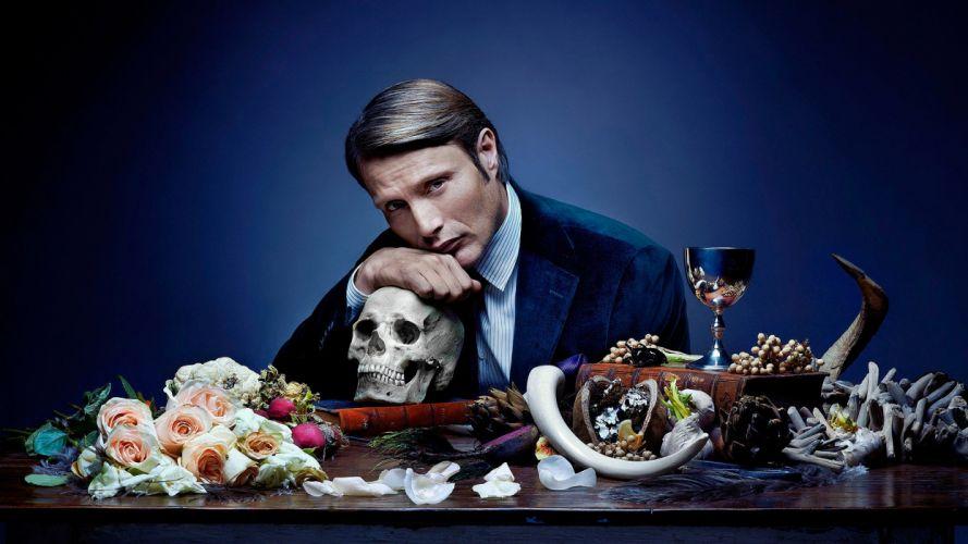 Hannibal Skull Rose Flower Mads Mikkelsen wallpaper