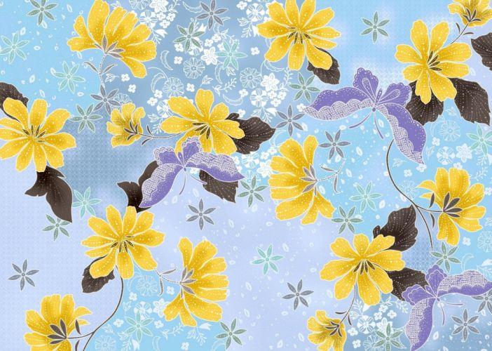 leaves butterflies flowers wallpaper