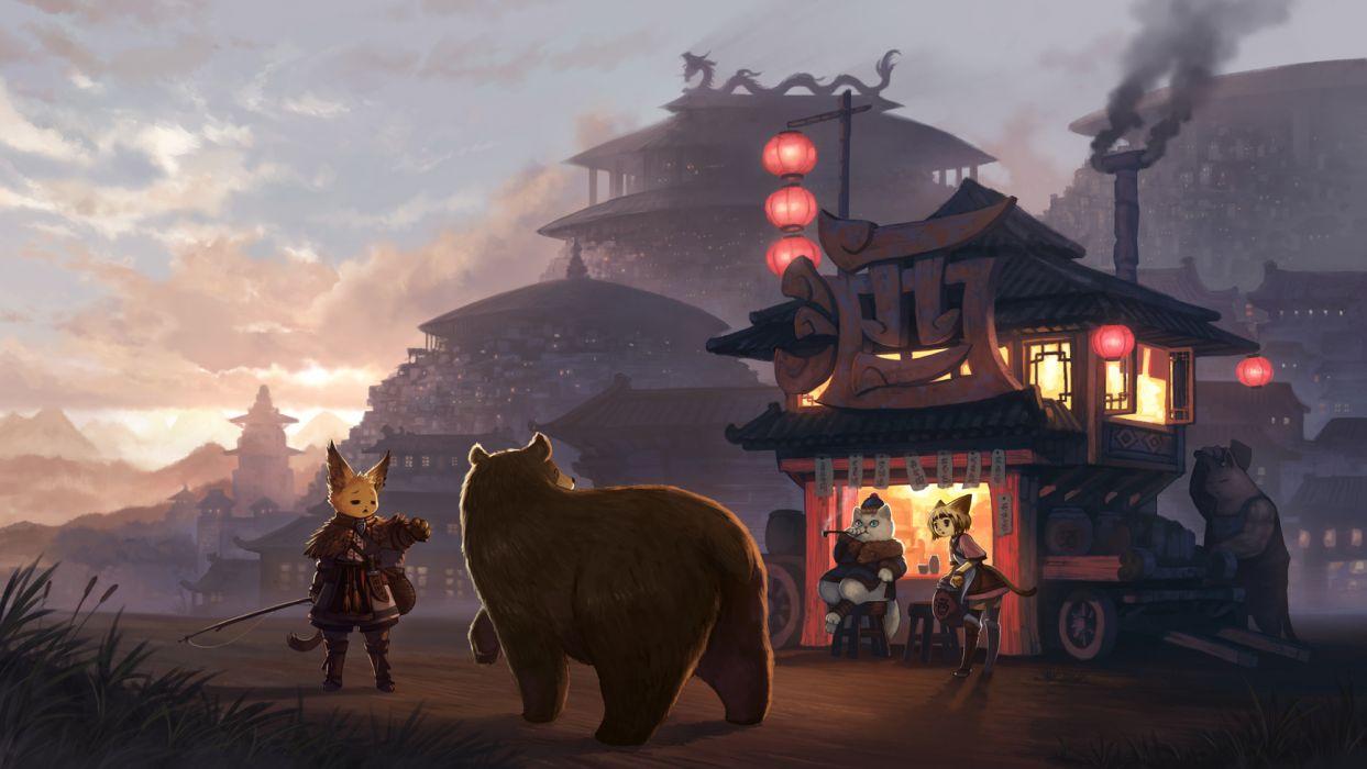original animal ears bear building cat gugu original tail wallpaper