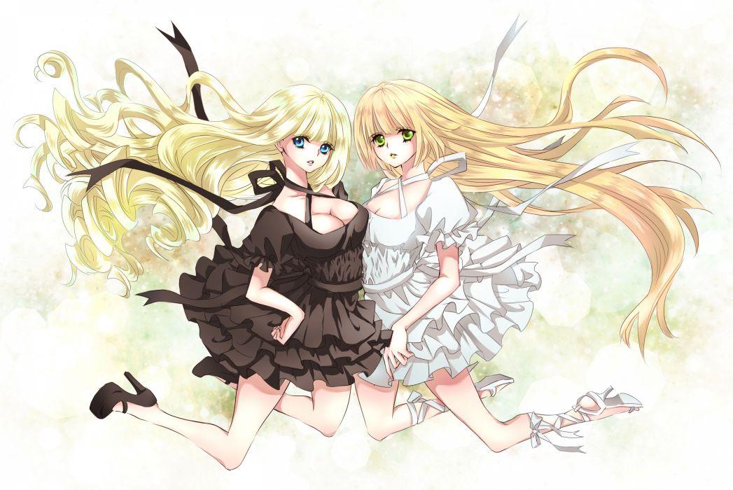 original girls blonde hair blue eyes cleavage dress green eyes long hair mizuiro tomato original wallpaper