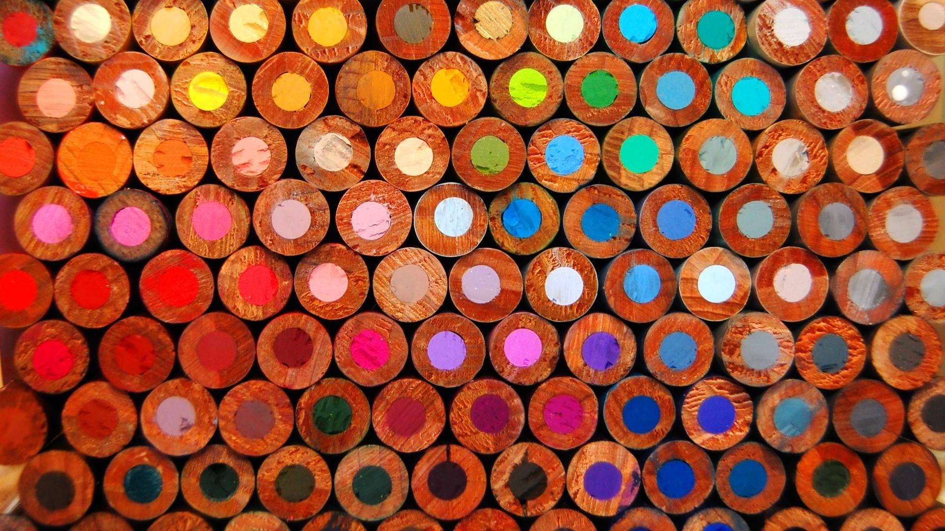 Pencils Wood Color Pattern Bokeh Wallpaper 1920x1080