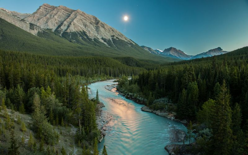 River Moonlight Mountains Landscape Forest Trees wallpaper