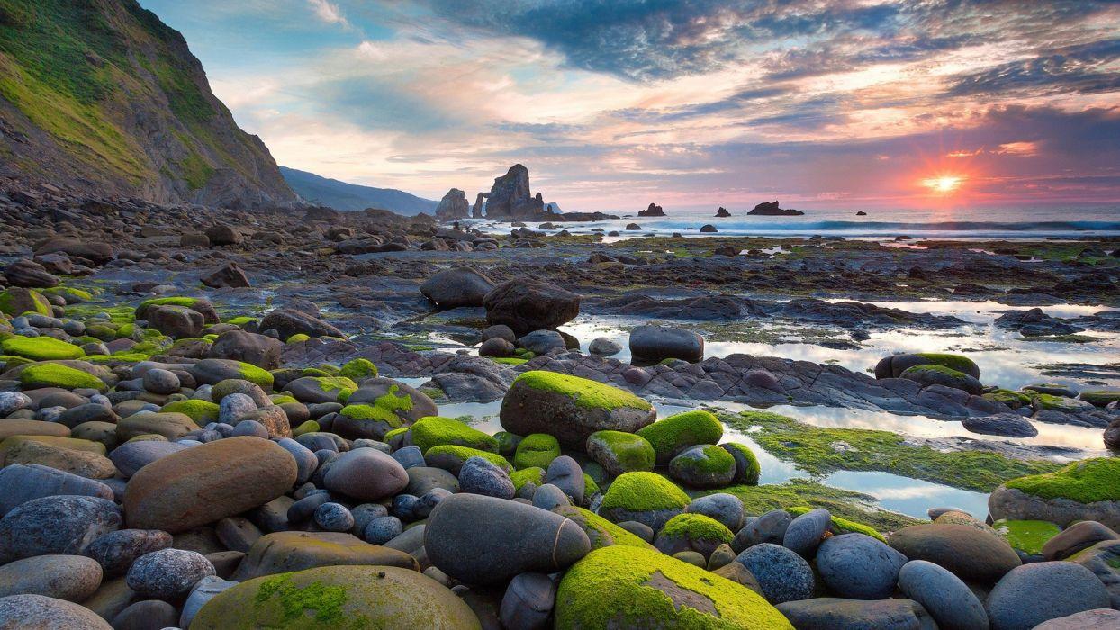 Rocks Stones Sunset Sunlight Beach Ocean Moss Landscape wallpaper