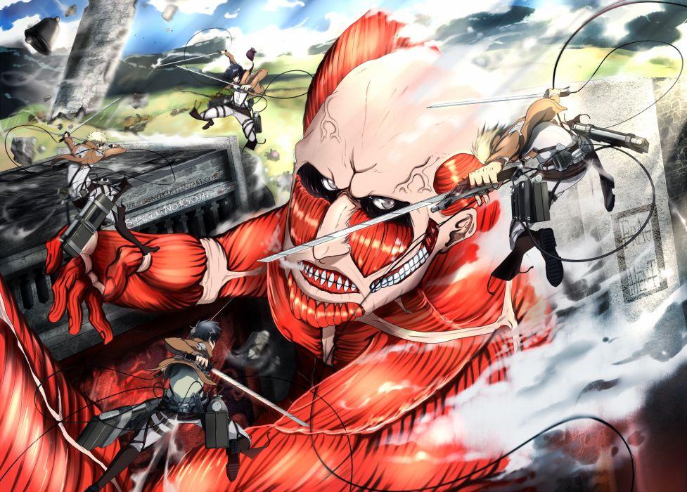 Shingeki No Kyojin Arlert Colossal Titan Eren Jaeger Mikasa