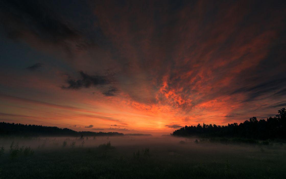 Sunset Fog Mist Landscape wallpaper