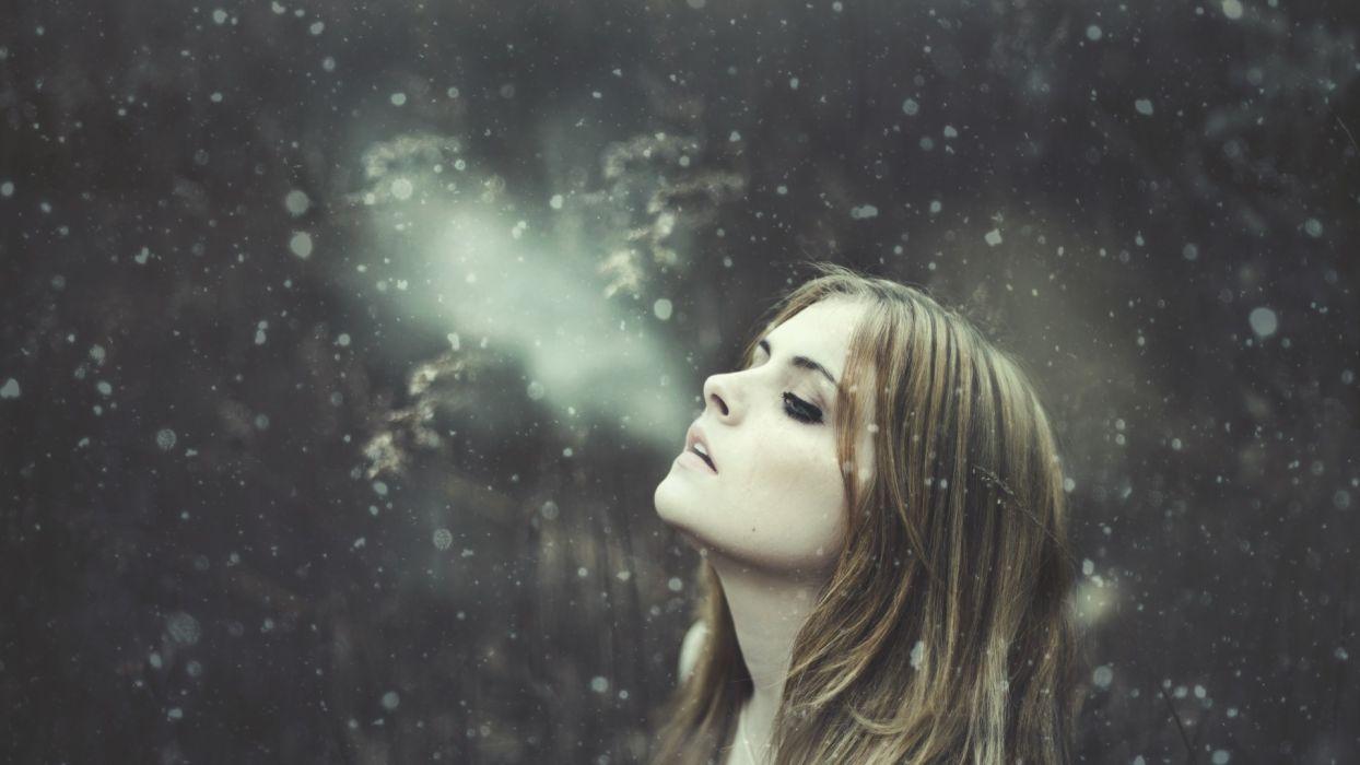 Winter Face Snow mood wallpaper