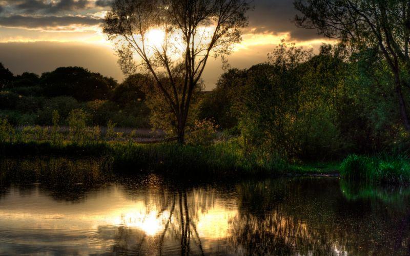 lake in sunset wallpaper