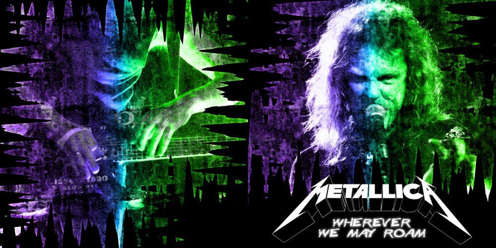 METALLICA thrash metal heavy album cover art concert concerts microphone guitar guitars rq wallpaper