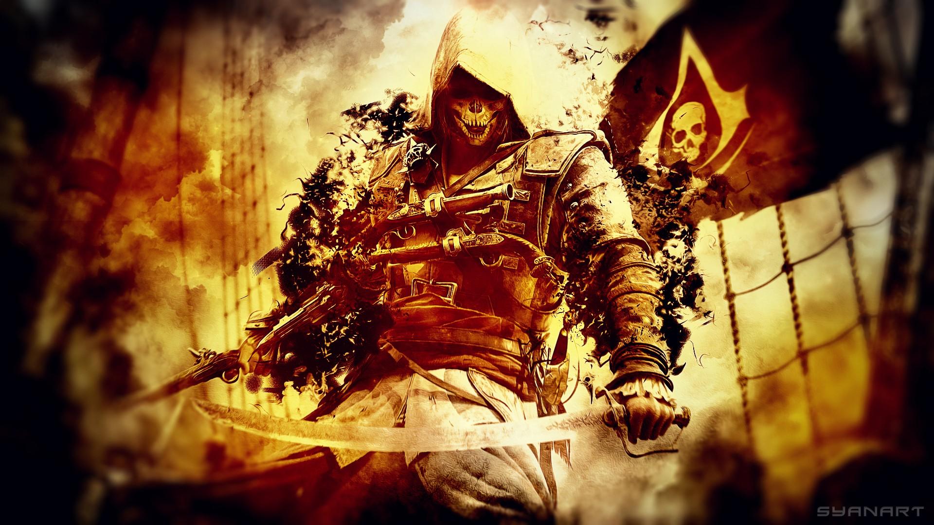 Assassins Creed Black Flag Pirate Sword Skull Wallpaper