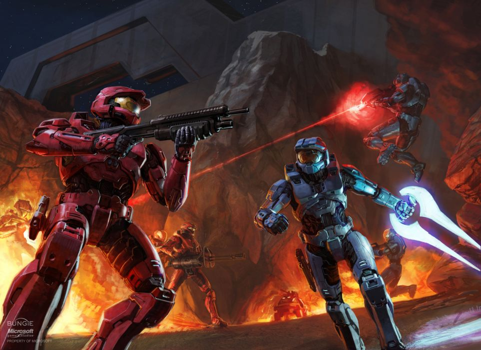 Halo  soldiers  armor  weapons  fighting  shooting  fire  rock wallpaper