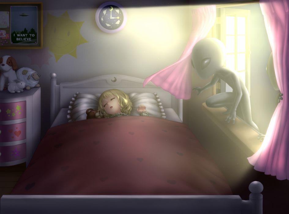 original art girl sleeping night bed UFOs alien lights clocks toys posters window wallpaper
