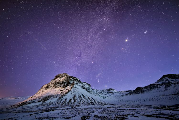 stars snow Iceland night mountains sky wallpaper