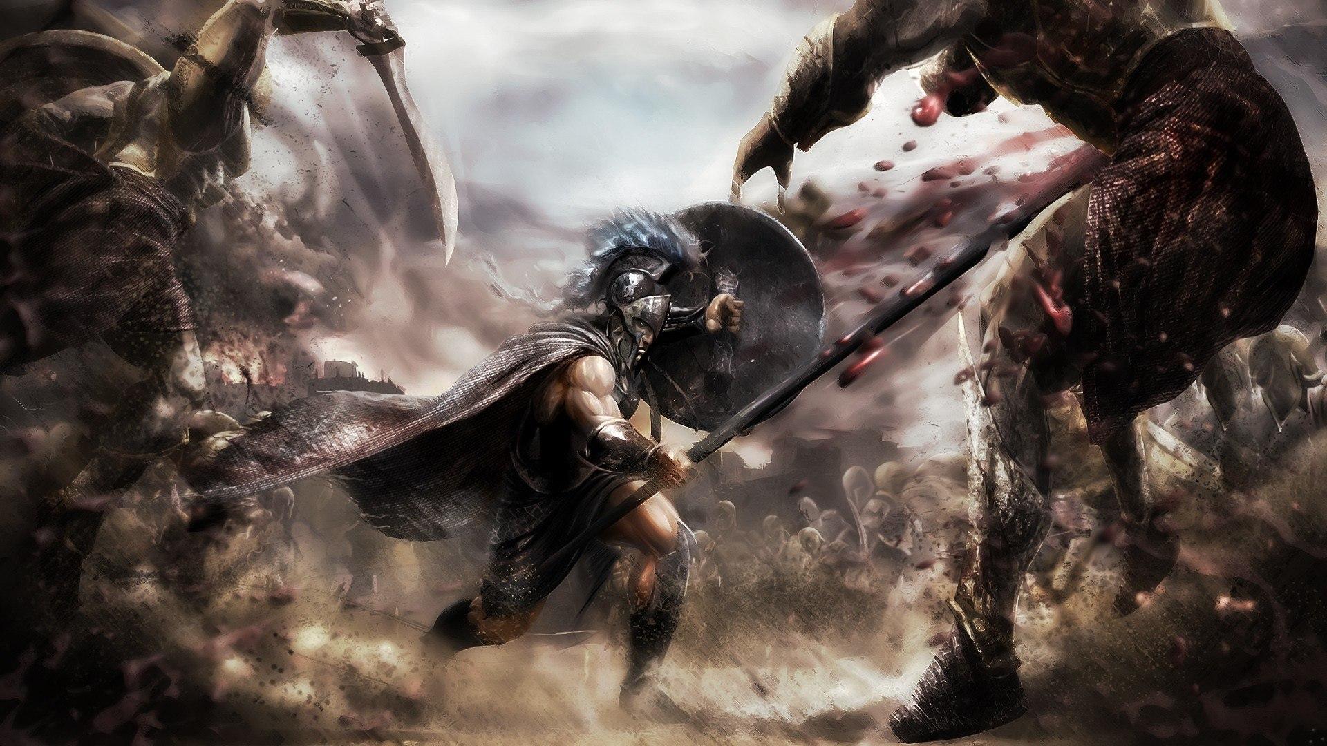 Fantasy artwork greece warrior troy wallpaper | 1920x1080 ...