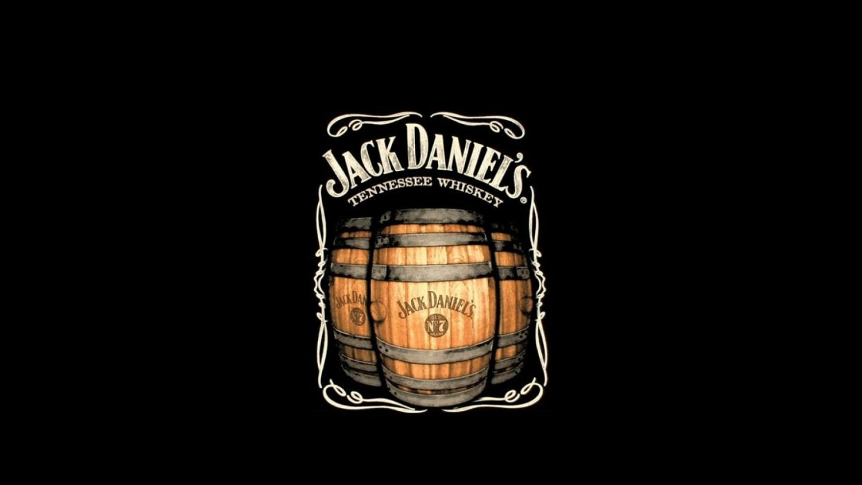 Jack Daniels Whiskey Drinks Logo Black Background Wallpaper