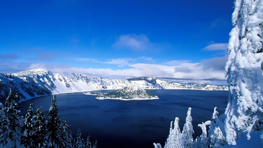 lake winter awesome nature landscapes blue frozen trees wallpaper
