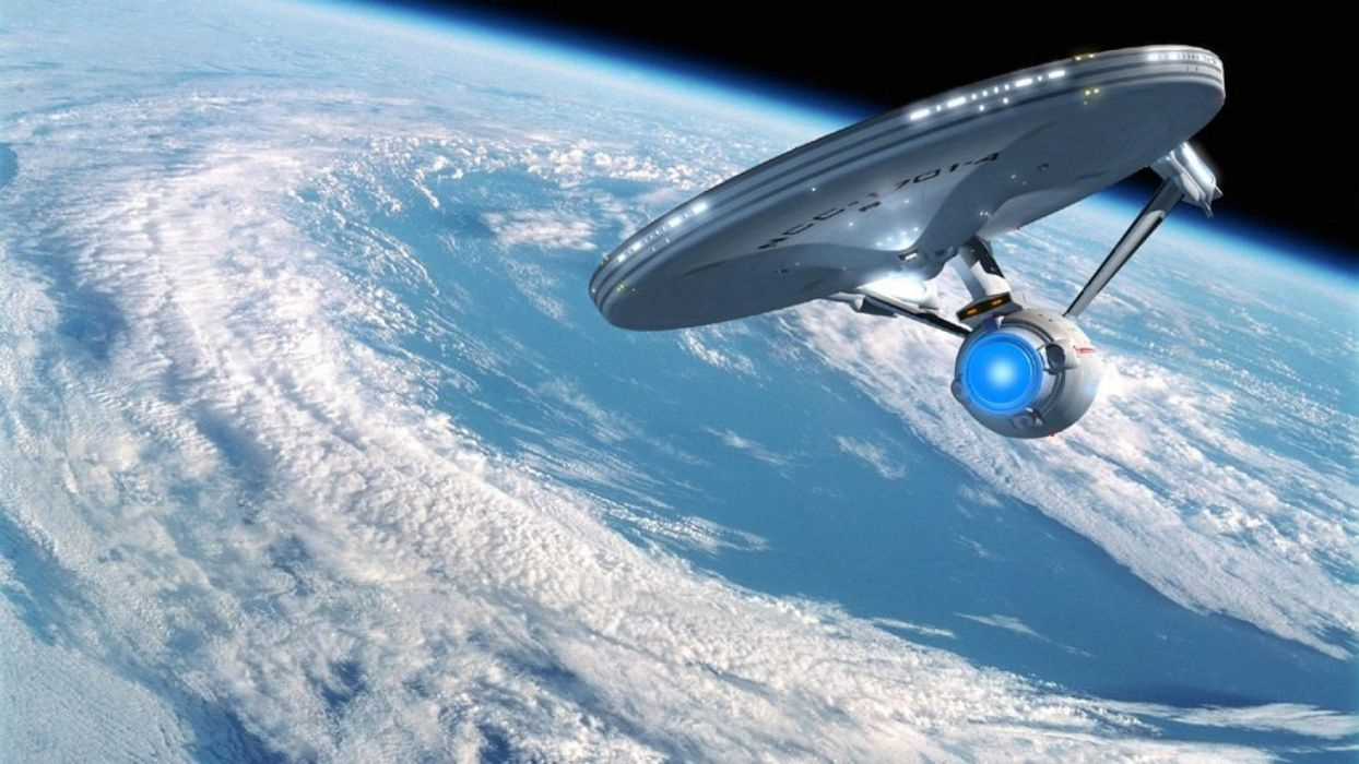 star trek enterprise earth orbit space planets wallpaper