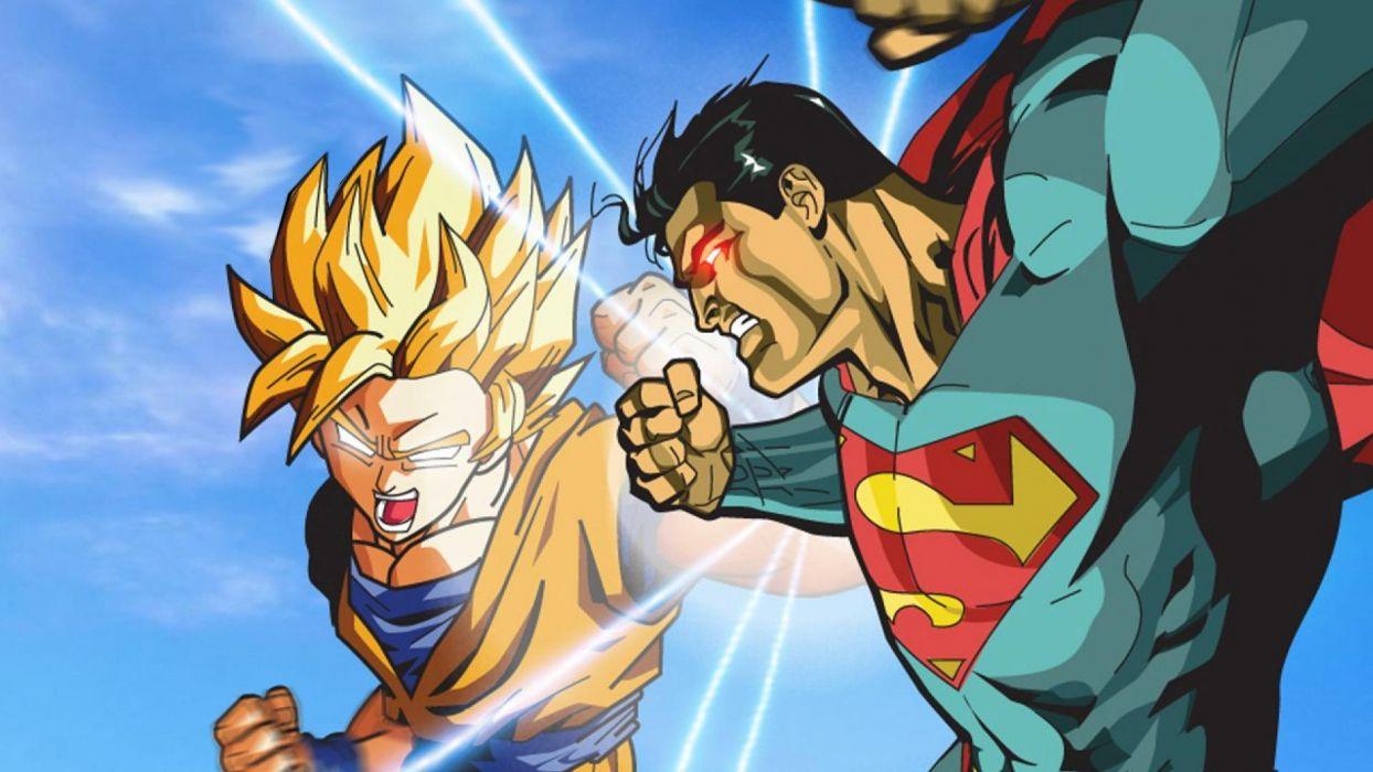 superman goku dragon ball fantasy battle wallpaper