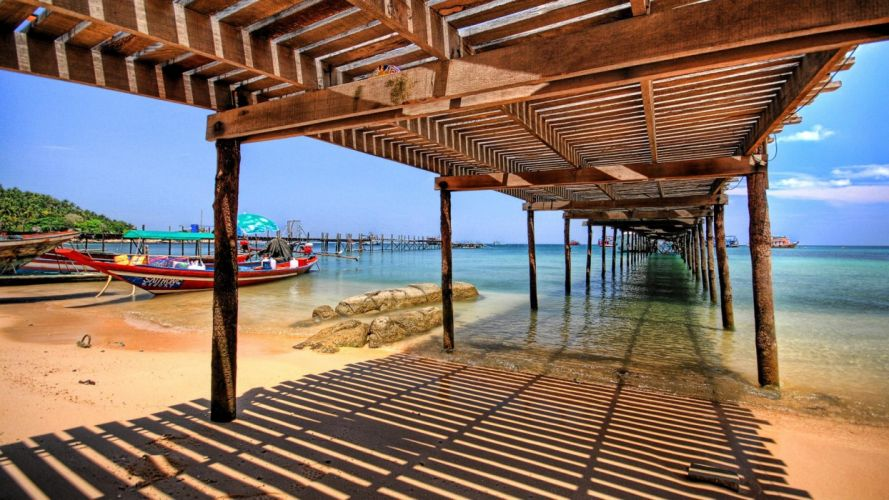 thai beach bridge boats nature world wallpaper