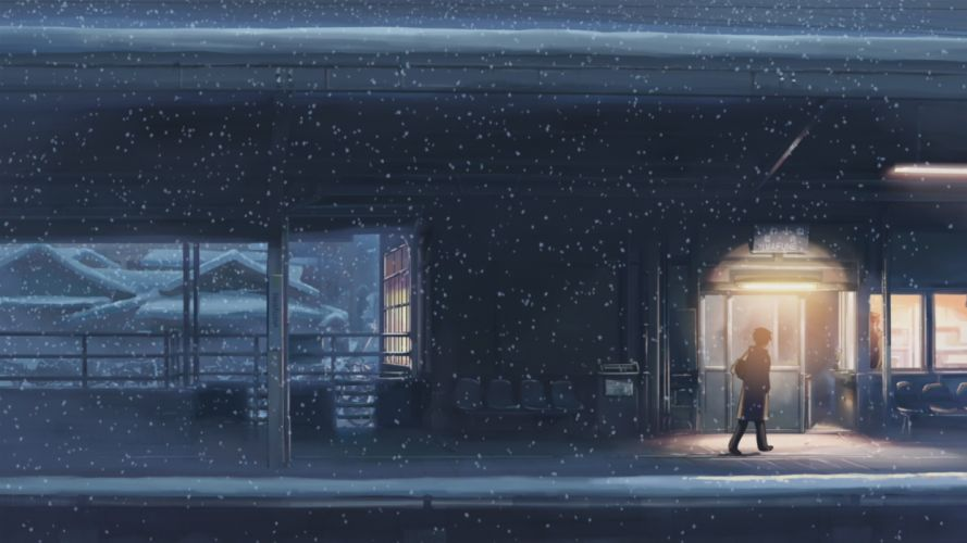 5 centimeters per second the train station snow japan wallpaper