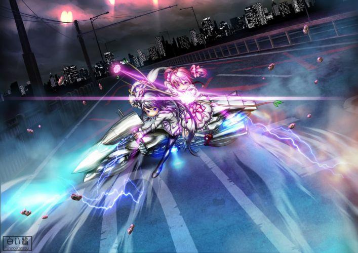 akira akemi homura akira kaname madoka mahou shoujo madoka magica motorcycle parody shiroi karasu wallpaper