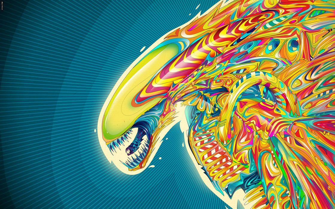 alien sci-fi aliens psychedelic color wallpaper