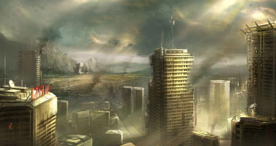 apocalyptic city destruction dark wallpaper