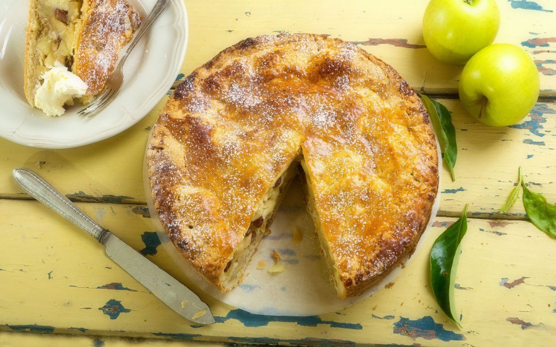 apple pie apples leaves knife fork plate cake wallpaper