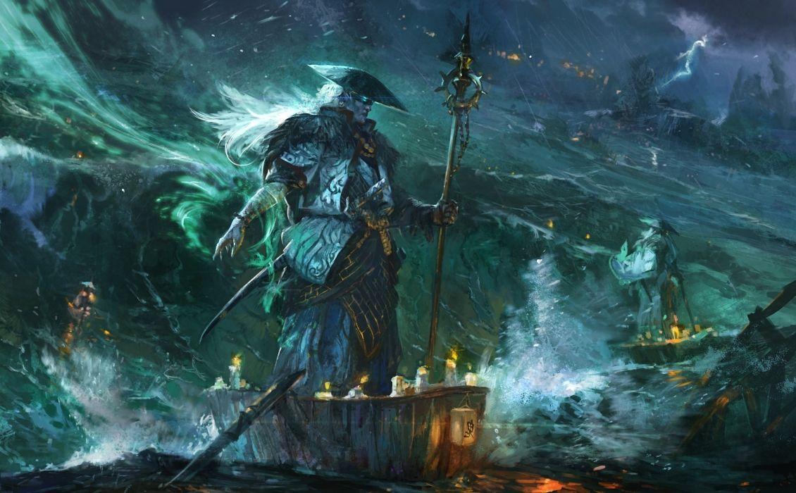 Art Sea Storm Boat Spirit Spark Hat Stick Lightning Fantasy