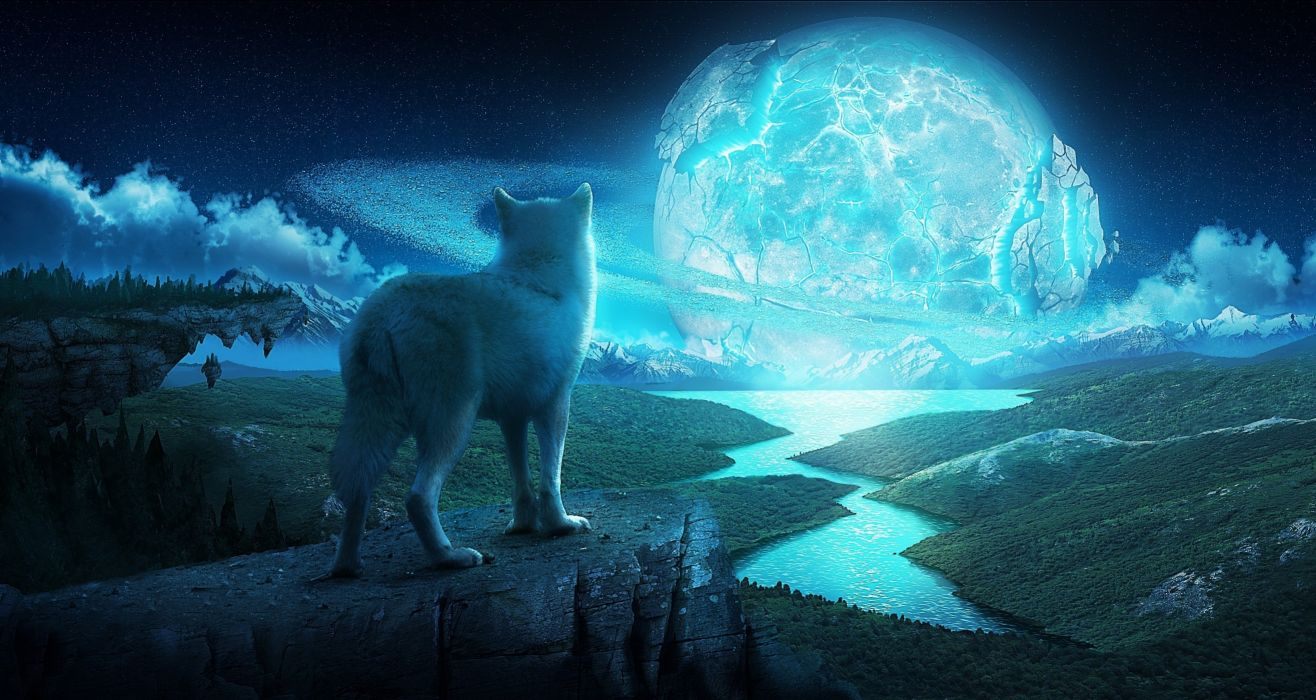 art Wolf Night Planet Fantasy fantasy landscape wolves wallpaper