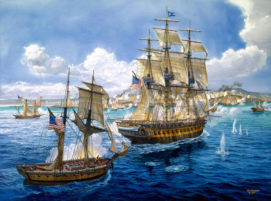 art battle sea painting ships navy guns military ship wallpaper