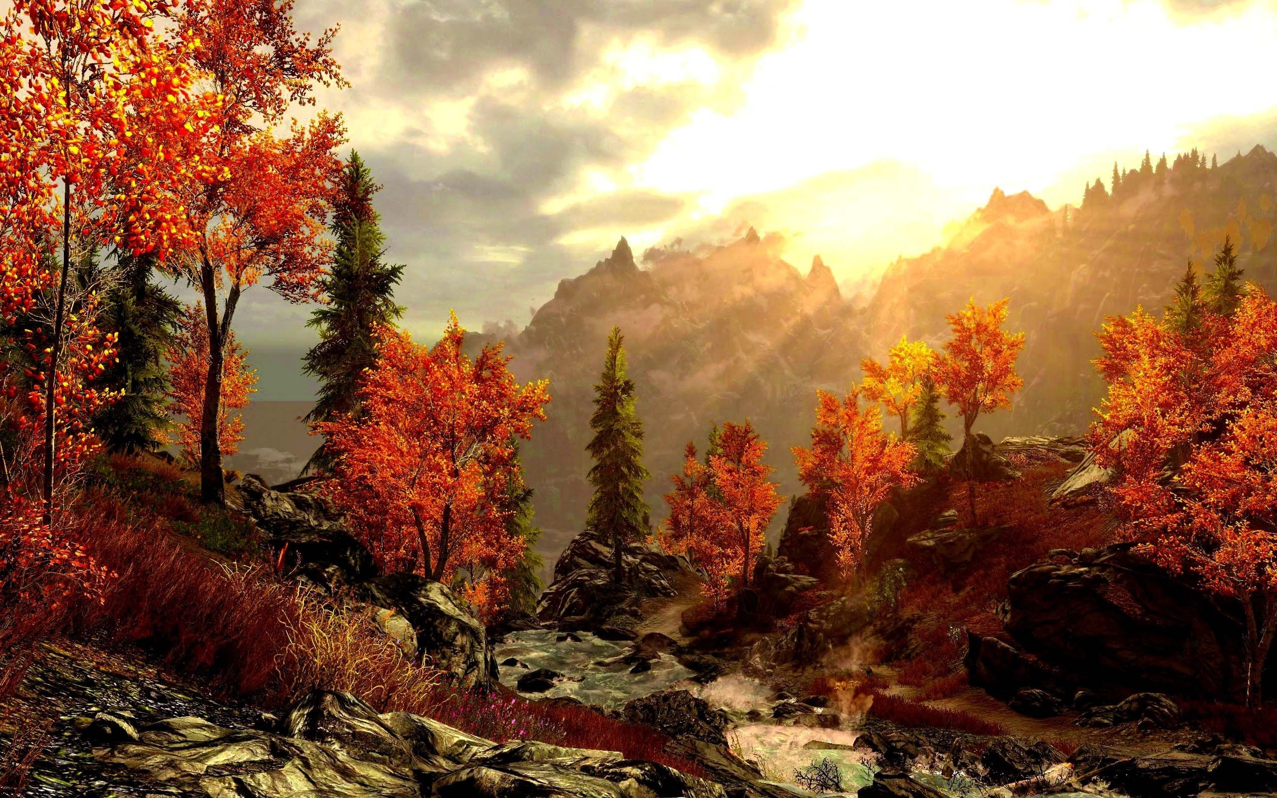 Art Painting Forest Autumn Mountains Painting Picture